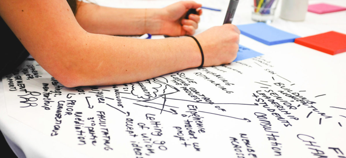 Person's hand is shown writing on a large paper brainstorming.